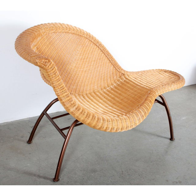 Charles Eames Vintage Mid Century Modern Wicker Chaise Lounge - Pair Available For Sale - Image 4 of 9