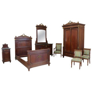 19th Century Italian Empire Mahogany Golden Bronzes Green Marbles Bedroom Set For Sale