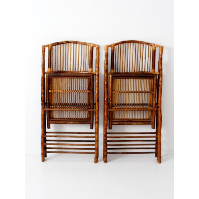 Vintage Bamboo Folding Chairs - a Pair For Sale - Image 9 of 10
