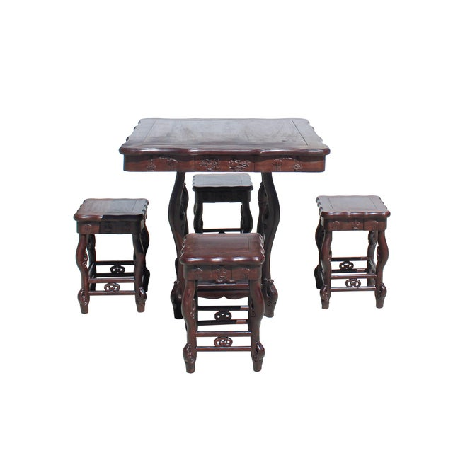 Asian Chinese Dark Brown Huali Rosewood Square Table Chair 5 Pieces Set For Sale - Image 3 of 8