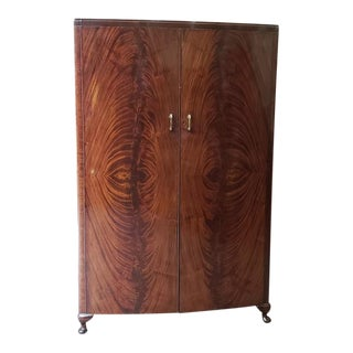 Vintage Flame Mahogany Bow Front Armoire C.1940 For Sale