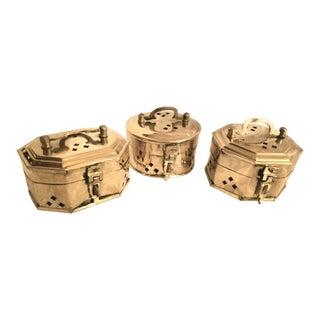 Vintage Pierced Brass Cricket Boxes - Set of 3 For Sale