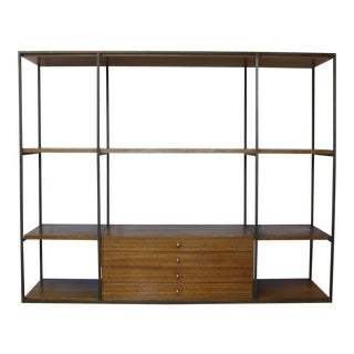 Paul McCobb Calvin Group Brass & Mahogany Shelving Unit Room Divider Mid Century For Sale