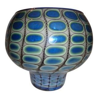 Tom Philabaum Iridescent Blue, Silver & White Art Glass Signed Vase For Sale