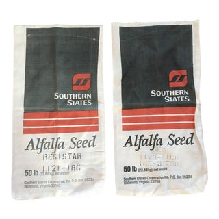 1960s Americana Seed Bag Pillow Cases - a Pair