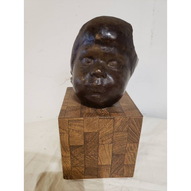 Vintage Childs Face Bronze Sculpture For Sale In Miami - Image 6 of 6