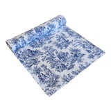 "Image of Custom French Blue & White Country Toile Table Runner 106"" Long For Sale"