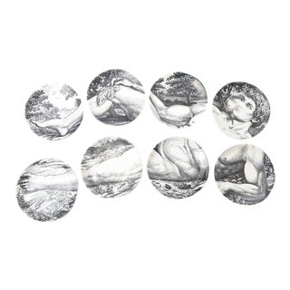 Mid-century Piero Fornasetti Porcelain Coasters Adam or Bareware - Set of 8 For Sale