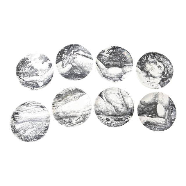 Mid-century Piero Fornasetti Porcelain Coasters Adam or Bareware - Set of 8 For Sale