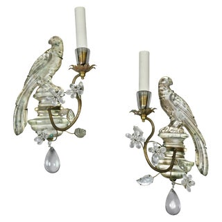 Pair of Bagues Crystal and Gilt Metal Sconces For Sale