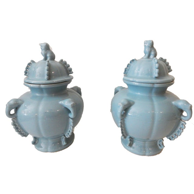 Blue Foo Dog Ginger Jars - A Pair - Image 5 of 5