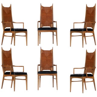 High Back Cathedral Danish Modern Dining Chairs - Set of 6 For Sale