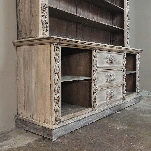 Wood 19th Century Grand Hand Carved Stripped Oak English Bookcase For Sale - Image 7 of 12