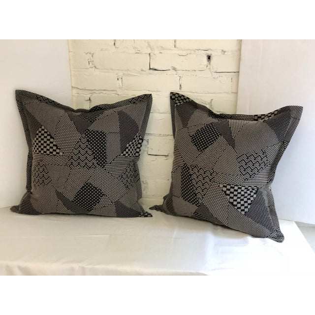"""Pair of 20"""" Square Black and White Stitched Patchwork Pillows by Jim Thompson For Sale - Image 11 of 11"""