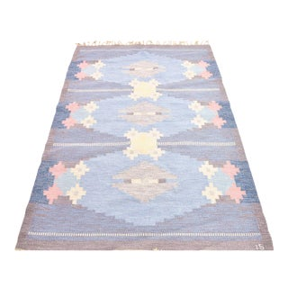 Vintage Handwoven Flat Weave Rug - 4′6″ × 6′8″ For Sale