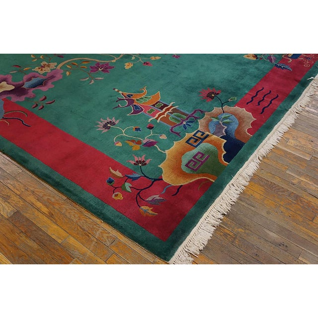 "Art Deco 1920s Antique Art Deco Chinese Rug 9'2"" X 11'8"" For Sale - Image 3 of 6"
