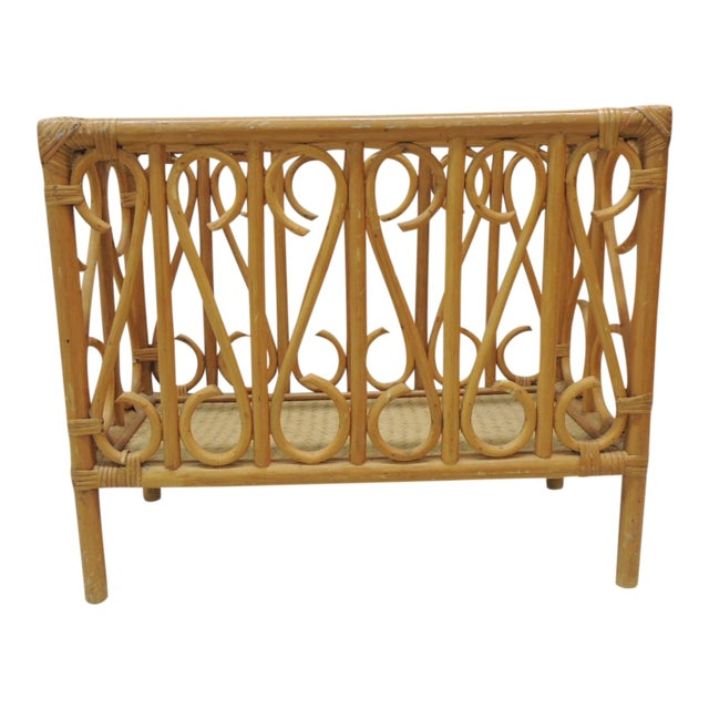 Vintage Bamboo Rectangular Shape Magazine Rack For Sale