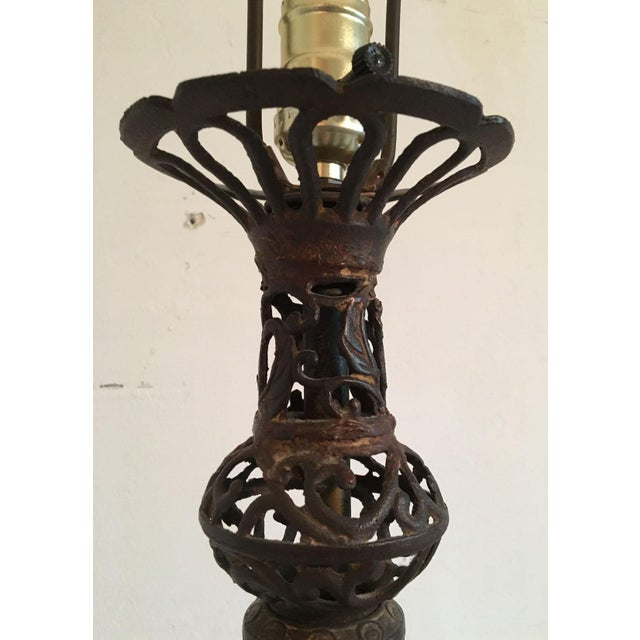Asian Tall Vintage Chinese Style Rustic Cast Iron Lamp For Sale - Image 3 of 10