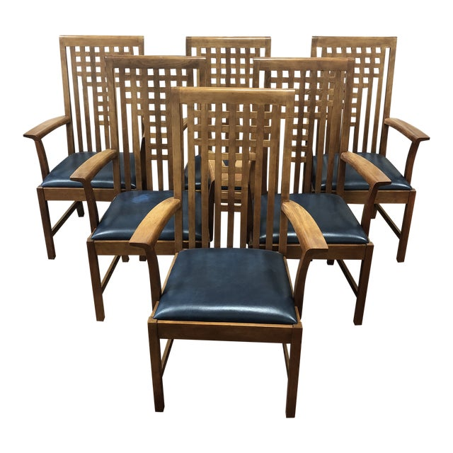 Stickley Furniture Metropolitan Collection Lattice Back + Leather Armchairs- Set of Six For Sale