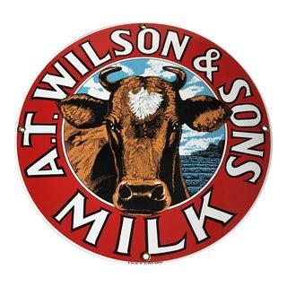 Vintage Enameled Milk Sign