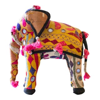 Embroidered Stuffed Elephant From Rajasthan India For Sale