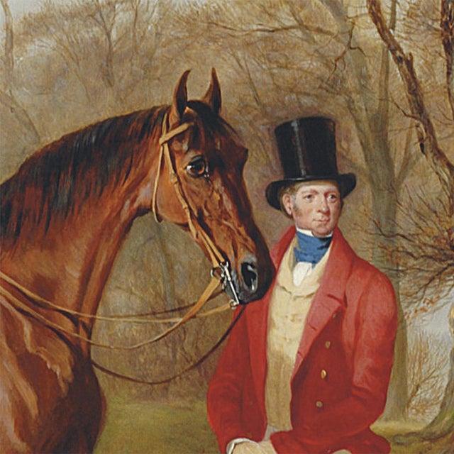 English Gentleman Standing Beside Saddled Hunter Framed Oil Painting Print on Canvas in Antiqued Gold Frame For Sale - Image 3 of 4