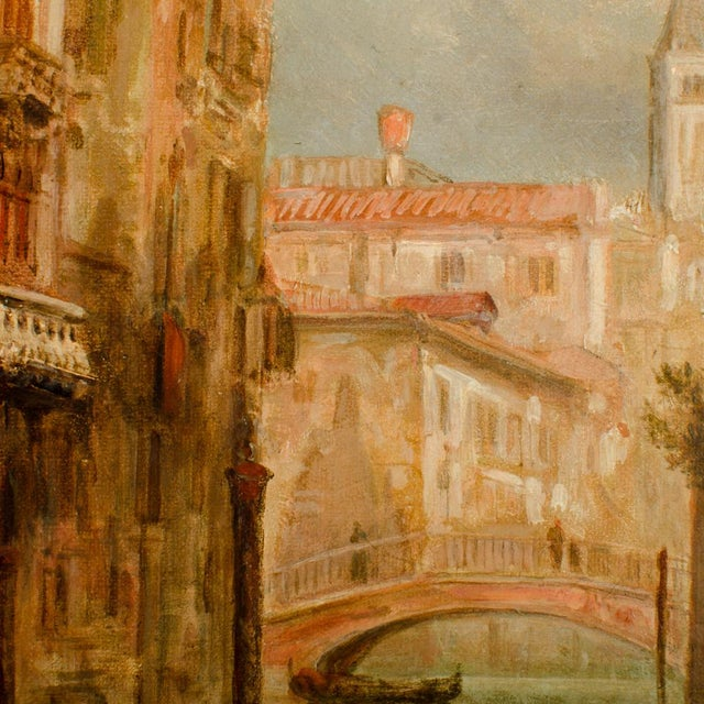 """Tan 19th Century """"Venice in June"""" Cityscape Oil Painting by Alfred Pollentine For Sale - Image 8 of 10"""