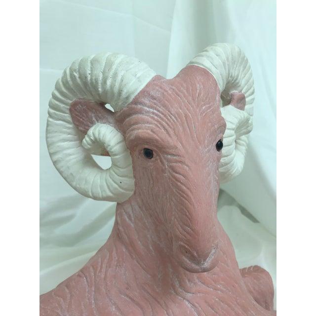 Pink Vintage Ceramic Pink & White Glass Eyes Ram Floor Sculpture For Sale - Image 8 of 10