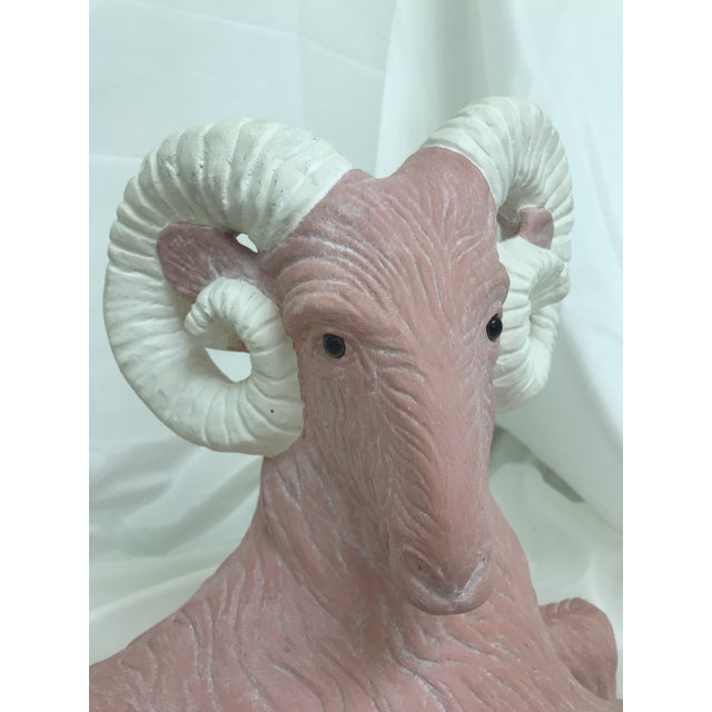 Pink Vintage Ceramic Pink & White Glass Eyes Ram Statuary For Sale - Image 8 of 10