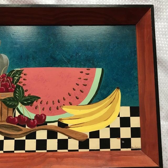 Painted Fruit Wooden Tray For Sale - Image 5 of 7