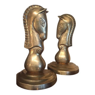 Mid-Century Hollywood/Brass Horse Bookends - A Pair For Sale
