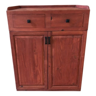 Vintage Red Finish Pine Storage Cabinet For Sale