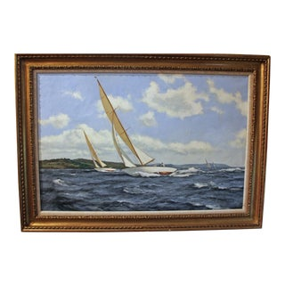 "20th Century Oil Painting ""Summer in the Solent"" by James Brereton For Sale"
