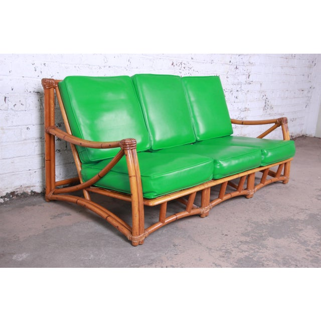 Mid-Century Modern Heywood Wakefield Hollwood Regency Mid-Century Modern Rattan Sofa For Sale - Image 3 of 11