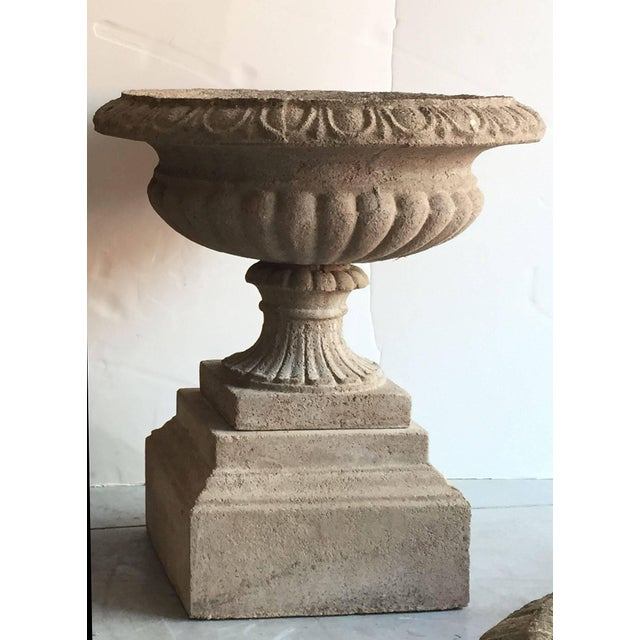 English English Garden Stone Urns or Planters on Plinths - a Pair For Sale - Image 3 of 11