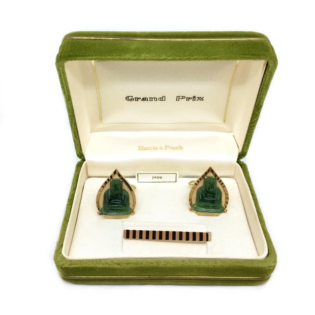07c476517588 Swank Inc. 1960s Vintage Swank Jade Buddha Cufflink & Tie Bar Set For Sale -