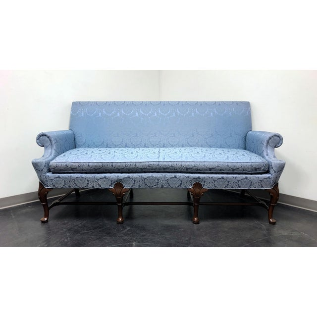 Hickory Chair Queen Anne Sofa Settee in Blue Brocade For Sale - Image 13 of 13