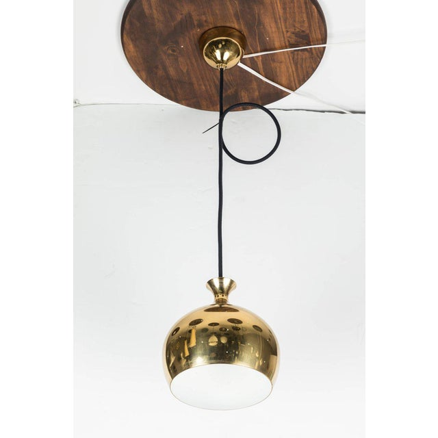 1960s Helge Zimdal for Falkenberg 1960s Brass Perforated 'Onion' Pendants - a Pair For Sale - Image 5 of 7