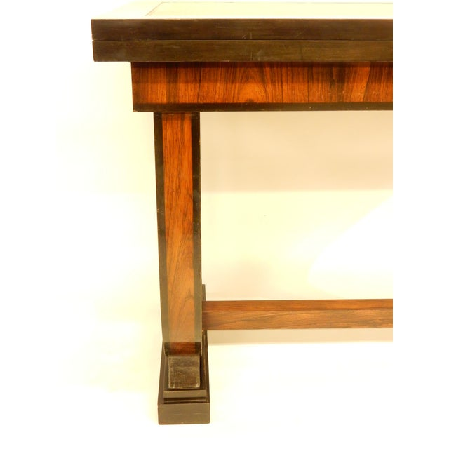 Art Deco Leather Top Table With Extensions For Sale - Image 9 of 11