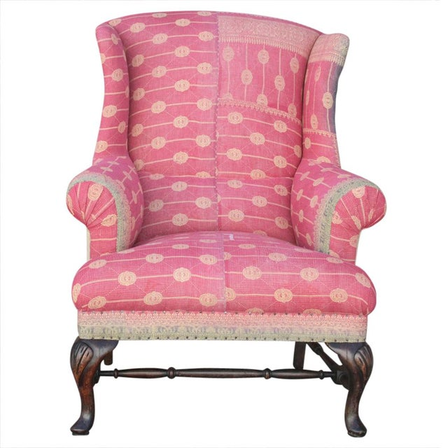 Kantha Reupholstered Wingback Chair | Chairish