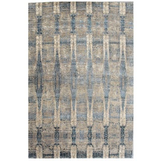 Hand-Knotted Bamboo Silk & Wool Modern Rug - 10′ × 14′ For Sale