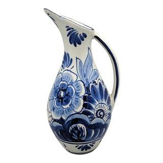 20th Century Floral Dutch Delft Pitcher/ Vase For Sale