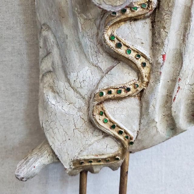 Vintage Thai Carved Wood Sculptural Statue For Sale - Image 9 of 13