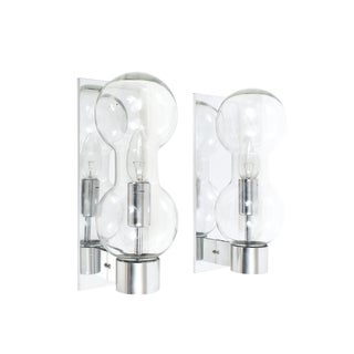 Set of Six Hourglass Shaped Clear Glass Sconces For Sale
