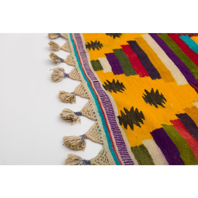 Textile Multi-Color Striped Cotton Indian Dhurrie Rug For Sale - Image 7 of 8