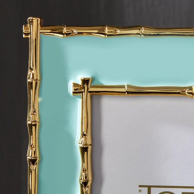 """Beautiful seafoam & gold enameled 4"""" x 6"""" picture frame. A classic style, this preppy frame will be great on your entryway..."""