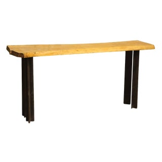 Light Wood Live Edge Table For Sale