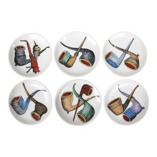 Italian Porcelain Tobacco Pipe Coasters - Set of 6 For Sale