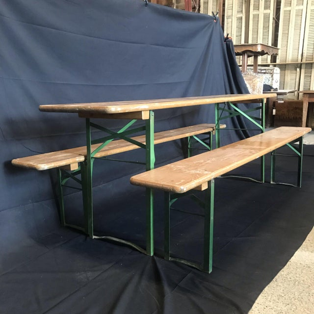 Vintage Collapsible German Beer Garden Table and Bench - a Set For Sale In Portland, ME - Image 6 of 7