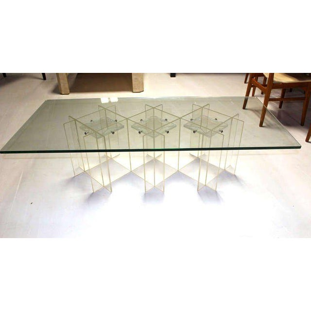 Mid-Century Modern Lucite & Glass Coffee Table For Sale - Image 10 of 10